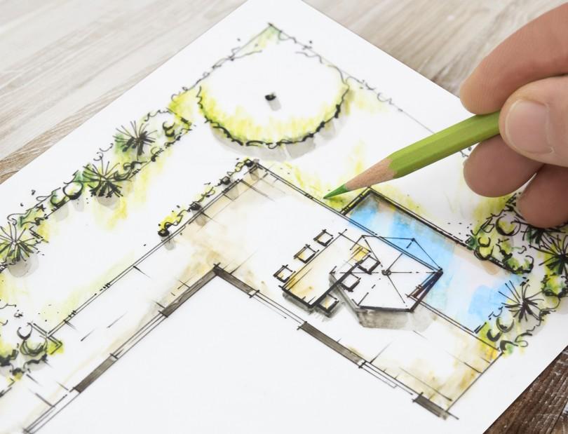 Trädgårdsritning med pool