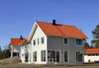 Swedish midde class house against blue sky.