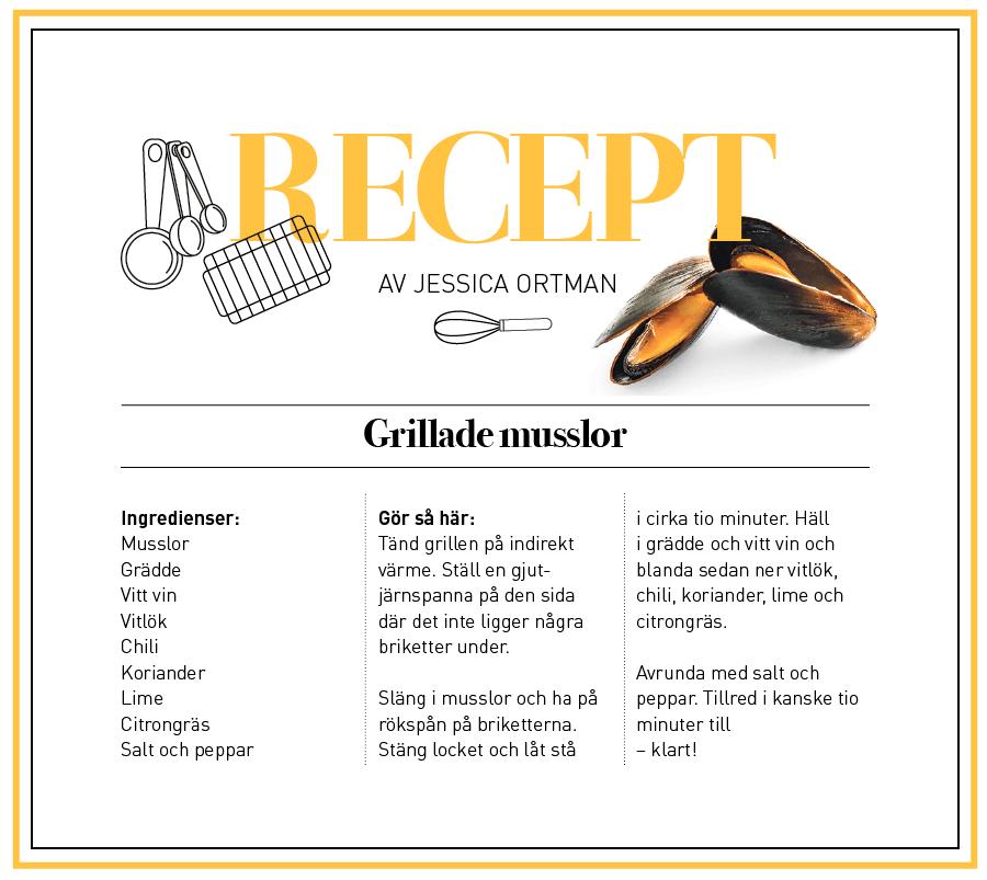 Recept på grillade musslor.