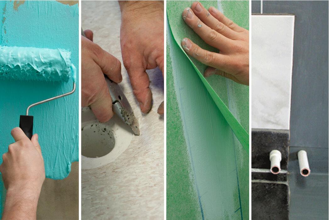 Olika tätskikt används beroende på vilket underlag man jobbar med. Från vänster; vätskebaserat tätskikt som rollas på underlaget, plastmatta som tät- och ytskikt, tätskiktsfolie samt plastmatta som tätskikt under keramiskt ytskikt. Foto: KGVK